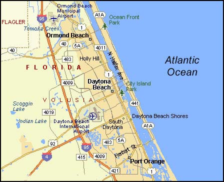 Daytona Beach Map Florida Maps Travel Locations in FLA